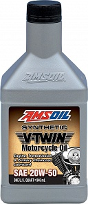 AMSOIL Synthetic V-Twin Motorcycle Oil 20W50 Масло мотор. (0.946л)