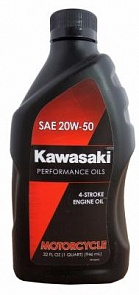 Kawasaki Масло мотор 4Т Performance Oils 4-Stroke Engine Oil Motocycle SAE 20W-50 (0,946л)